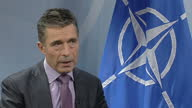 Interior shot Anders Fogh Rasmussen talks about the diplomatic political path with Russia on March 07 2014 in Brussels Belgium