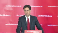 Interior shot Ed Miliband Labour Leader says 'I'll tell you who's going to be writing the Labour budget it's me and Ed Balls and it's not going to be...