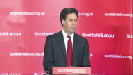 Interior shot Ed Miliband Labour Leader says Labour will deliver a homerule bill for Scotland on time and in full on March 23 2015 in Clydebank...
