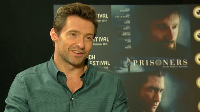 Interior shot Hugh Jackman actor talks about being grateful that his new film 'Prisons' is getting good reviews The film topped the UK box office...