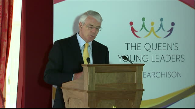 Interior shot John Major talks about being chairman of organisation the importance of the Queen's Young Leaders on July 10 2014 in London England