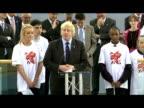 Interior shot London Mayor Boris Johnson making speech at the opening of the Olympic Velodrome Velodrome Opens Boris Johnson Speech at Olympic Park...