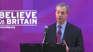 Interior shot Nigel Farage giving UKIP Economic speech talks about The Budget a lack of honesty about the state of public finances in Britain and...