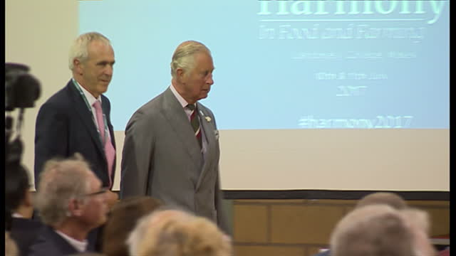 Interior shot Prince Charles Prince of Wales in Myddfai for 'Harmony in Food and Farming' a conference at Llandovery College organised by the...
