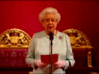 Interior shot Queen Elizabeth II addresses a n audience of foreign heads IOC members at a reception at Buckingham Palace ahead of the London 2012...
