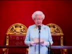 Interior shot Queen Elizabeth II addresses audience of foreign heads IOC members at a Royal Reception at Buckingham Palace ahead of the London 2012...