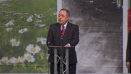 Interior shots Alex Salmond acceptance speech after gaining the Gordon seat from Lib Dem on May 08 2015