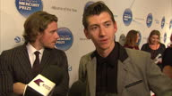 Interior shots Alex Turner talks on Mercury awards red carpet about winning the award before and what effect it has Mercury Prize Awards Red Carpet...