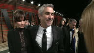 Interior shots Alfonso Cuaron being interviewed by Sky reporter Amanda Walker talk about making Gravity on March 02 2014 in Los Angeles California