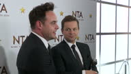 Interior shots Ant and Dec at the National Television Awards after winning award for 'Best TV Presenter' talking about winning the award for 15 years...