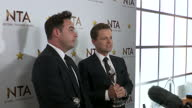 Interior shots Ant and Dec at the National Television Awards after winning award for 'Best TV Presenter' talking about winning the award on January...