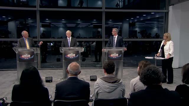 Interior shots Boris Johnson speaking on Ken Livingstone's tax policy Interior shots Brian Paddick speaks on the police service Interior shots Boris...