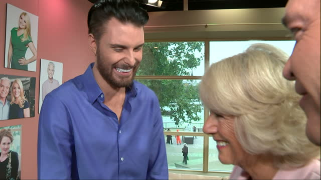 Interior shots Camilla Duchess of Cornwall meeting TV presenters Rylan Clark Gok Wan and Alison Hammond on visit to ITV Studios for 60th Anniversary...