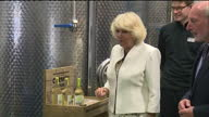 Interior shots Camilla walking through Cornish Orchards distillery looking at products with staff on July 14 2014 in Liskeard England