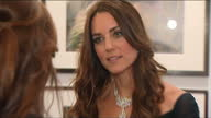 Interior shots Catherine Duchess of Cambridge talking with guests and Director of the National Portrait Gallery Sandy Nairne at National Portrait...