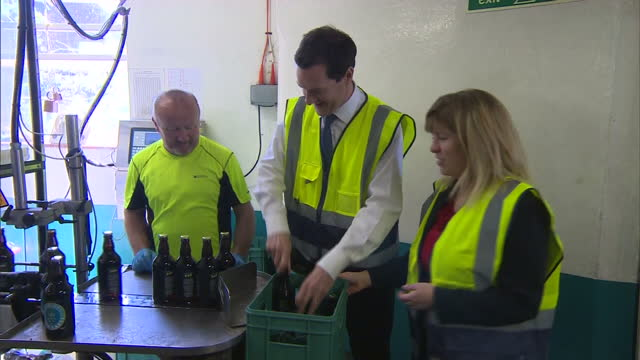 Interior shots Chancellor George Osborne Conservative Party visiting Harvey's Brewery while campaigning in Lewes on April 21 2015 in Lewes England