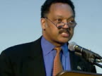 Interior shots civil rights campaigner Jesse Jackson accepts applause of antiwar protesters Interior shots speeches Jesse Jackson Civil Rights...