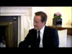 Interior shots David Cameron Arnold Schwarzenegger sat inside Number 10 Downing Street chatting informally whilst the press take pictures David...