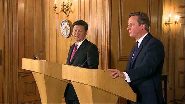 Interior shots David Cameron British Prime Minister and Xi Jinping Chinese President at joint press conference at 10 Downing Street during Chinese...