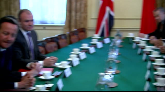 Interior shots David Cameron British Prime Minister meeting with Chinese Premier Li Kiqiang and delegates in Cabinet room at Downing Street on June...