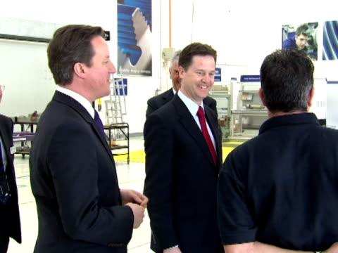 Interior shots David Cameron Nick Clegg tour Rolls Royce factory speaking to workers David Cameron Nick Clegg at Rolls Royce on March 07 2011 in...