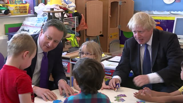 Interior shots David Cameron Prime Minister and leader of Conservative Party and Boris Johnson Mayor of London join jigsaw puzzle session with...