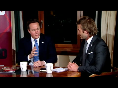 Interior shots David Cameron Prince William David Beckham sat around table chatting about England's World Cup 2018 bid World Cup 2018 delegates...