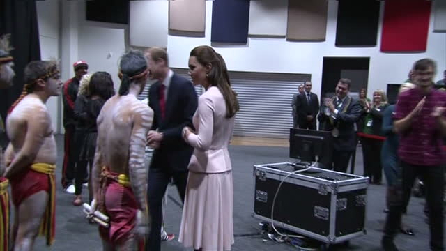 interior shots Duke and Duchess greeting Youth Centre performance artists after performance