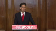 Interior shots Ed Miliband delivers resignation speech on May 08 2015 in London England