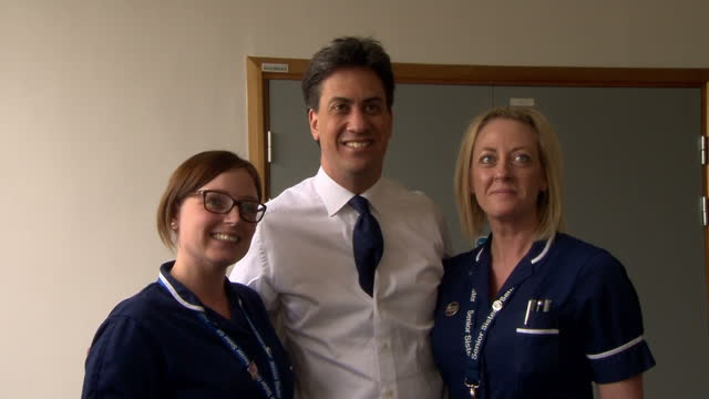 Interior shots Ed Miliband leader of Labour Party and Andy Burnham Shadow Health Secretary visiting Addenbrooke's Hospital in Cambridge on April 22...