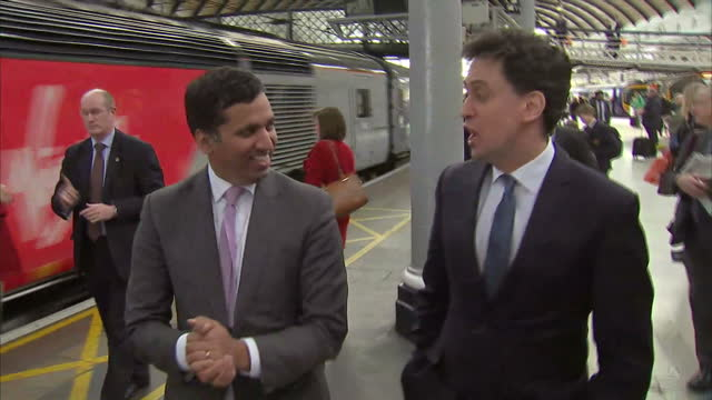 Interior shots Ed Miliband walking with Faisal Islam and talking about Milifandom on April 27 2015 in Newcastle England