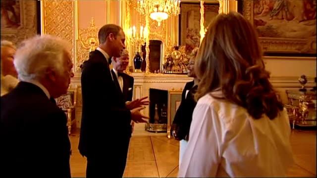 Interior shots Emelie Sande singer meeting Prince William Duke of Cambridge at gala dinner for the Royal Marsden Hospital on May 13 2014 in Windsor...