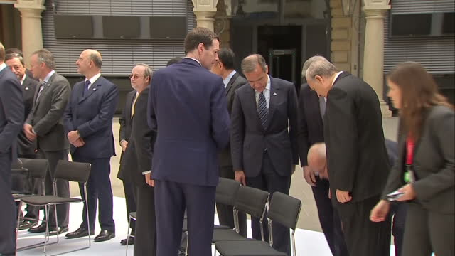Interior shots Finance ministers central bank governors global financial institution heads pose in group photo family photo during G7 finance...