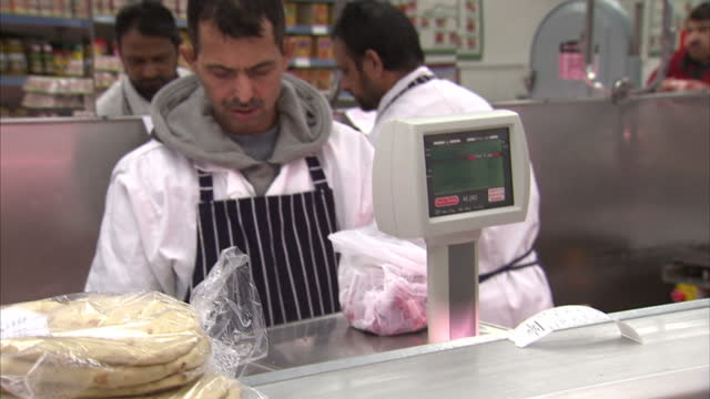 interior shots Halal butcher weighing meat Traces of Pork Found in Halal Meat Products on February 02 2013 in London England