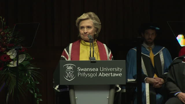 Interior shots Hillary Clinton 2016 American Presidential Candidate presented with an Honorary Doctorate of Law from Swansea University gives speech...