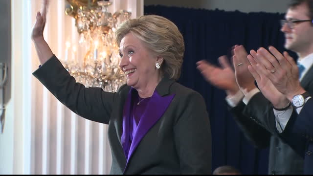 Interior shots Hillary Clinton Former Presidential Candidate walks off stage after giving speech conceding the 2016 US Election to Donald Trump...