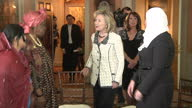 Interior shots Hillary Clinton US Secretary of State arriving and taking seat with honorees of State Department's Women of Courage Awards on March 08...