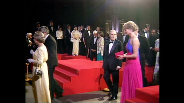 Interior shots HM Queen Elizabeth II Princess Diana Princess Di Margaret Thatcher Denis Thatcher and G7 dignitaries arriving at G7 event on July 16...