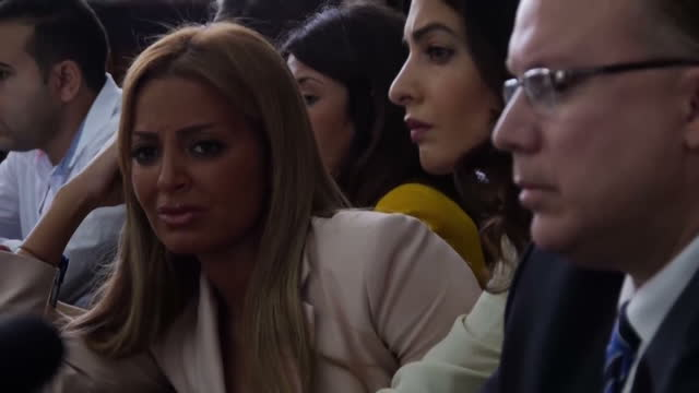 interior shots Human Rights Lawyer Amal Clooney and Marwa Fahmy in courtroom tt Al Jazeera Journalists trial on August 29 2015 in Cairo Egypt