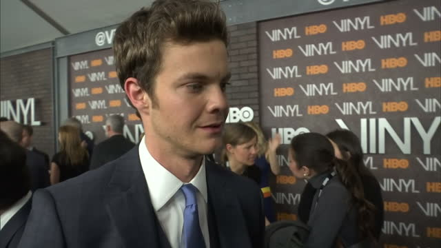 Interior shots Jack Quaid Actor on Vinyl Premiere red carpet talking about being excited for the show on January 17 2016 in New York City