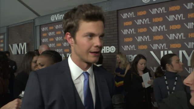 Interior shots Jack Quaid Actor on Vinyl Premiere red carpet talking about the 70s feeling to the show and wanting to bring the 70s back on January...