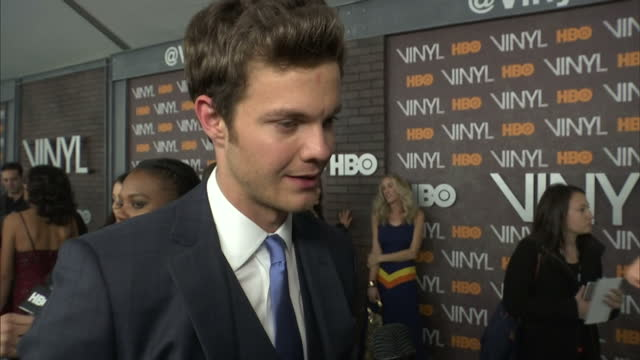 Interior shots Jack Quaid Actor on Vinyl Premiere red carpet talking about David Bowie and his influence on the show on January 17 2016 in New York...