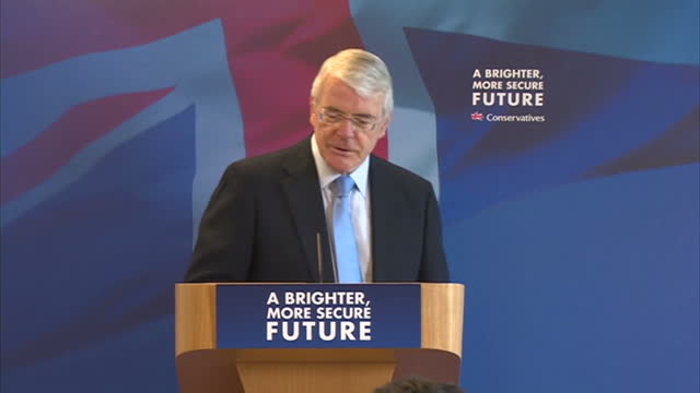Interior shots John Major delivering speech to delegates in Solihull on April 21 2015 in Solihull England