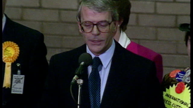 Interior shots John Major Prime Minister giving victory speech after being reelected in his Huntingdon constituency at the 1992 General Election on...