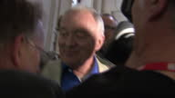 Interior shots Ken Livingstone Former Labour London Mayor surrounded by media as he tries to leave building and is repeatedly asked questions over...