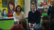 Interior shots Liberal Democrats Leader Nick Clegg his wife Miriam Gonzalez Durantez sat in classroom chatting to students at the Brighton Aldridge...