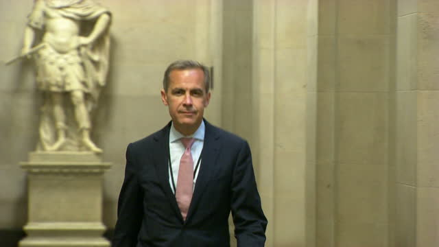 Interior shots Mark Carney arrive at the Bank Of England walk through the corridor and takes his seat for presser Mark Carney Starts New Job As Bank...