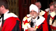 Interior shots Members of House of Lords Lords Peers leaving House of Lord's chamber after Queen's Speech on May 27 2015 in London England
