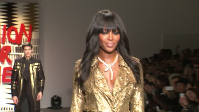 Interior shots Naomi Campbell on runway catwalk at Fashion For Relief charity fashion show on February 20 2015 in London England