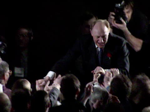 Interior shots Neil Kinnock makes speech 'we're alright we're alright' to Labour Rally in Sheffield Area **** MUSIC